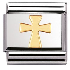 Express your faith with this beautiful charm from Nomination. Crafted from stainless steel and contrasting gold, this charm is exclusively crafted for the classic Nomination bracelet range. A thoughtful gift for religious occasions. Nomination Charms, Nomination Bracelet, Cross Jewelry, Heart Jewelry, Clip On Charms, Personalized Bracelets, Unique Bracelets, Gold Cross, Gold Price