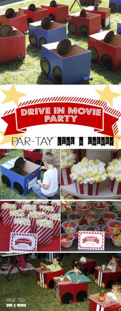 Drive-In Birthday Party. Tons of ideas and free printables to throw your drive in movie party! Includes food, decoration, entertainment & shopping list!