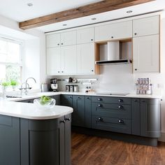 Modern Shaker kitchen with grey cabinetry and vinyl flooring