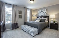 Transitional Master Bedroom with flush light, Carpet, High ceiling