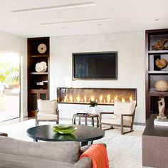 New living room tv wall ideas layout basements Ideas Living Room Photos, Living Room White, Living Room Grey, Living Room Decor, Tv Over Fireplace, Modern Fireplace, Fireplace Design, Fireplace Wall, Basement Fireplace