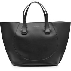 Victoria Beckham Large Tulip Leather Tote ($1,429) ❤ liked on Polyvore featuring bags, handbags, tote bags, black, genuine leather tote, tote purses, leather tote handbags, handbags totes and genuine leather purse