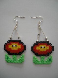 Mario plant earrings hama perler beads by Orianne22 on DaWanda
