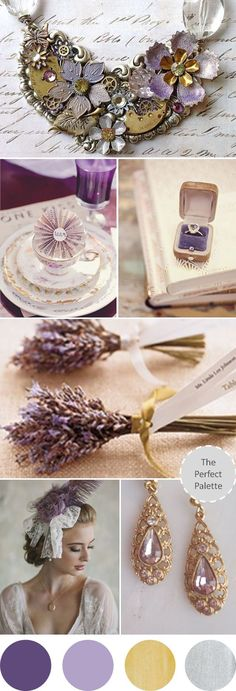 Wedding Colors | Shades of Lavender, Antique Gold   Silver http://www.theperfectpalette.com/2013/07/wedding-colors-i-love-shades-of.html