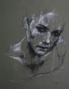 Guy Denning- 'We shall be hypocrites' (2012) This portrait of a female from the shoulders upwards was created using chalk and conte on paper. He uses different pressures and techniques of using these tools such as smudging and layering of chalk and conte which is used to create tone. This creates a more realistic face using only line of different thicknesses and lengths in order to create depth the picture and highlights the main focus points of the face. The eyes stand out the most to be…