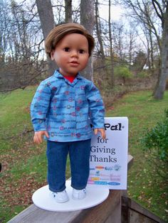 What dade asks for but is hard to find..... a boy doll like his sister's so he can play with them My Sibling and My Pal Dolls — 18 inch American boy doll - My Pal for Giving Thanks boy doll