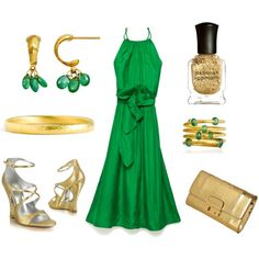 Really enjoying the green dress...  Emerald and Gold Wedding Guest, created by sazzledoodle on Polyvore,,