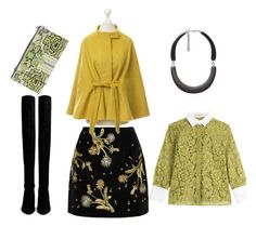 """Yellow and Olive"" by yoyostyle ❤ liked on Polyvore featuring Topshop Unique, Marni, MaxMara, Valentino, Siste's and Stuart Weitzman"
