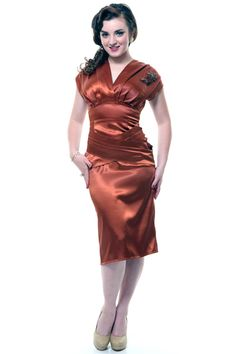 QUEEN OF HEARTZ 1940's Style Burnt Orange Satin Ruca Wiggle Dress - Unique Vintage - Homecoming Dresses, Pinup & Prom Dresses.