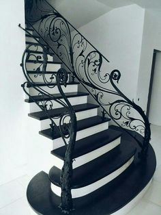 60 Stairs Decoration To Work on Today Interior Design Stairway Decorating Decoration Design Interior stairs Today Work Black Stair Railing, Staircase Railings, Staircases, Black Stairs, White Staircase, Banisters, Stair Art, Stair Decor, Railing Design