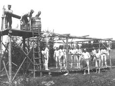 German soldiers taking a shower.
