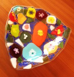 Color Explosion Fused Glass Bowl by SparksPainInTheGlass on Etsy, $40.00