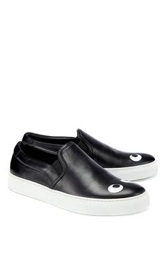 Skater Eyes Right Sneaker in Black Nappa by Anya Hindmarch for Preorder on Moda Operandi