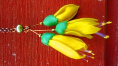 polymer clay and pearl kowhai flower necklace