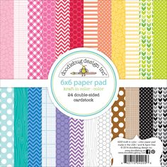 DOODLEBUG-Kraft In Color Paper Pad: Color. Perfect for all your paper crafting and scrapbooking projects. This package contains twenty-four 6x6 inch double-sided sheets in twelve different designs (tw