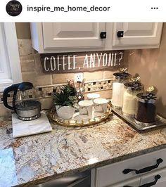 Pinterest: @ B R I A N A Decor For Kitchen Counters, Kitchen Countertop Organization, Kitchen Decor Signs, Canisters For Kitchen, Kitchen Counter Top, Gray Kitchen Countertops, Bathroom Counter Decor, Coastal Bathroom Decor, Home Decor Kitchen