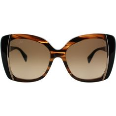 Pucci EP 741S 265 Striped Brown Butterfly Plastic Sunglasses ($100) ❤ liked on Polyvore featuring accessories, eyewear, sunglasses, brown, striped glasses, emilio pucci eyewear, emilio pucci glasses, emilio pucci and brown glasses