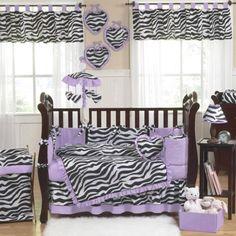 Purple zebra crib set. I want this soooooo badddd <3 It matches my bedding.