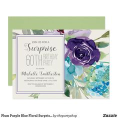 Shop Plum Purple Blue Watercolor Floral Wedding Invitation created by thepartyshop. Personalize it with photos & text or purchase as is! 60th Birthday Party Invitations, Sweet 16 Invitations, Floral Wedding Invitations, Invitation Text, Shower Invitation, Brunch Invitations, Graduation Invitations, Plum Purple, Floral Watercolor
