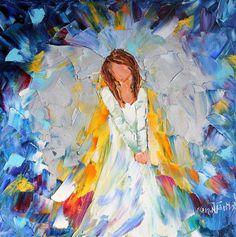 Original oil Christmas ANGEL painting modern by Karensfineart