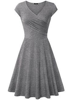 Casual Elegant Dresses Laksmi Womens Dress A Line Cap Sleeve V Neck