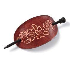 Floral Faux Leather Stick Barrette