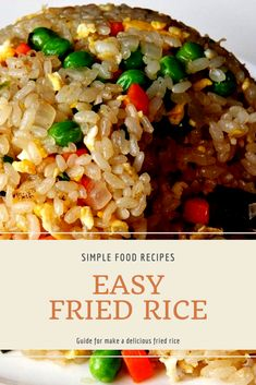 The best & healthy recipes of Easy Delicious Fried Rice Fried Rice Recipe Egg, Fried Rice Recipe Indian, Chicken Fried Rice Recipe Easy, Chicken Rice Recipes, Brown Rice Recipes, Easy Rice Recipes, Vegetarian Rice Recipes, Healthy Asian Recipes, Asian Dinner Recipes