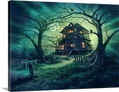 Haunted house wall decorations are wicked awesome for Halloween Home décor You will appreciate this if you love haunted house wall art. As this is the epitome of spooky, scary, evil and creepy Halloween wall art Steve Read Gallery-Wrapped Casa Halloween, Halloween Wall Decor, Halloween Artwork, Halloween Painting, Halloween Haunted Houses, Creepy Halloween, Spooky Scary, Spooky Halloween Pictures, Halloween 2017