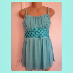List! Embroidered Chiffon Babydoll Tank! NWT!! Rushed scoop neckline. Adjustable straps. Details at waist. Gorgeous Babydoll chiffon. Love it!! Studio Y Tops Tank Tops