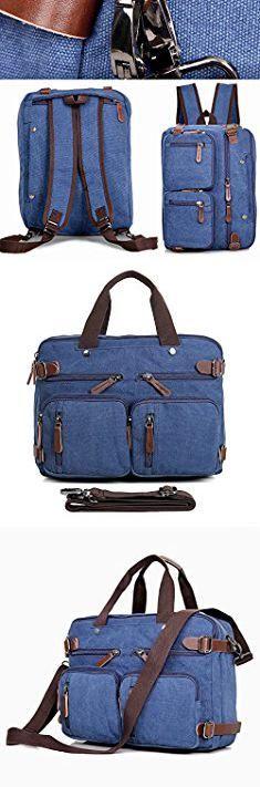 Ladies Backpack Laptop Bag. Laptop Bag, Clean Vintage Hybrid Backpack Messenger Bag/Convertible Briefcase Backpack Satchel Men Women/BookBag Rucksack Daypack-Waxed Canvas Leather, Blue 13-14-15-inch Laptops/ MacBooks.  #ladies #backpack #laptop #bag #ladiesbackpack #backpacklaptop #laptopbag