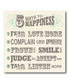 Look at this '5 Ways to Happiness' Wrapped Canvas on #zulily today!