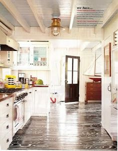 Black floor on the kitchen