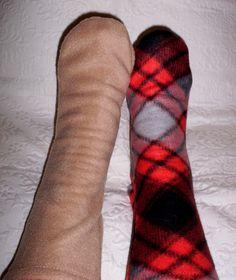 Women's Warm Handmade Plaid Socks Beige by UniqueSewingBoutique