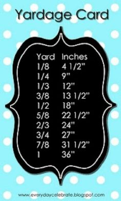 Sewing yardage