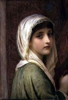 Girl In A White And Gold Headscarf by Edward Tayler (1828 – 1906, Swiss-born English)