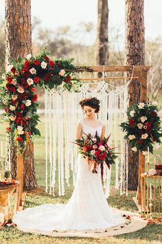See Top 9 Fall Wedding Color Schemes for and Candlelight' Moody. See Top 9 Fall Wedding Color Schemes for and Candlelight' Moody Bohemian Wedding Inspiration. Fall Wedding Arches, Fall Wedding Colors, Burgundy Wedding, Wedding Color Schemes, Wedding Flowers, Crimson Wedding Ideas, Red Burgundy, Winter Wedding Ideas, Wedding Archways