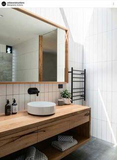Bathroom decor for your bathroom remodel. Discover bathroom organization, bathroom decor some ideas, bathroom tile some ideas, master bathroom paint colors, and more. Bathroom Renos, Bathroom Shelves, Bathroom Renovations, Bathroom Storage, Mirror Shelves, Wood Shelves, Black Shelves, Condo Bathroom, Rental Bathroom