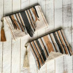 New suede and cotton cord handmade clutch available now ✨💖 loving stripes and fringe Diy Clutch, Handmade Clutch, Handmade Bags, Tapestry Weaving, Loom Weaving, Hand Weaving, Macrame Bag, Weaving Projects, Boho Bags