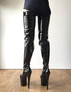 color: as shown or custom color material: synthetic material MADE TO ORDER (NOT IN STOCK) - platform heel. - crotch length - side zipper design for easy to pull on and take off. Thick Heel Boots, Thigh High Boots Heels, Sexy Boots, Black High Heels, Heeled Boots, Black And Red Hoodie, Miu Miu Heels, Crotch Boots, Platform High Heels