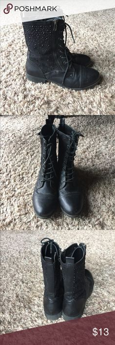 Black Combat Boots Maurice's black combat boots with black gems nothing wrong Maurices Shoes Combat & Moto Boots
