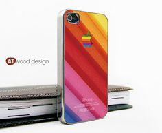 light silvery iphone 4 case iphone 4s case iphone 4 cover beautiful colors apple logo unique Iphone case design. $16.99, via Etsy.