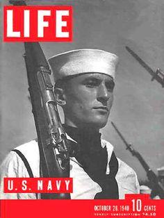 Life Magazine Cover Copyright 1940  US Navy Soldier - www.MadMenArt.com | Life…