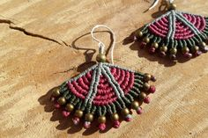handmade macrame colorful earrings with bronze beads and sterling silver hook