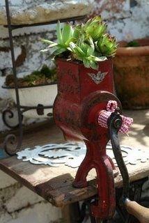 Re-purpose old meat grinder as a planter. Great display idea.   via Design e Decoração- Blog de Decoração: Inspiração Jardim: