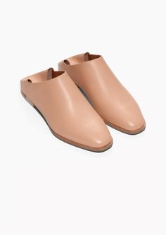 & Other Stories image 2 of Leather Slip-On Flats in Beige