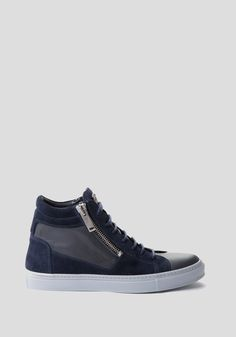 Bi-material high-top sneaker with double zip