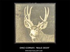 """Western Art by Dino Cornay, """"Mule Deer."""" This is an original on balsam wood. Mule Deer, Western Art, Limited Edition Prints, Westerns, Moose Art, Hunting, Art Gallery, Wildlife, Horses"""