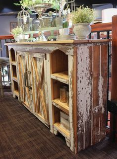 of barnwood missionary products artesano design coffee display carvings hutch table double dsc with copy cabinet