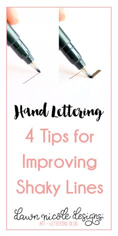 Hand Lettering: 4 Tips for Improving Shaky Lines. Even with the imperfect nature of hand lettering, there are still ways to improve your work of course! dawnnicoledesigns… - Hand Lettering: 4 Tips for Improving Shaky Lines Hand Lettering For Beginners, Calligraphy For Beginners, Calligraphy Tutorial, Hand Lettering Tutorial, Hand Lettering Practice, Hand Lettering Alphabet, Doodle Lettering, Creative Lettering, Calligraphy Letters