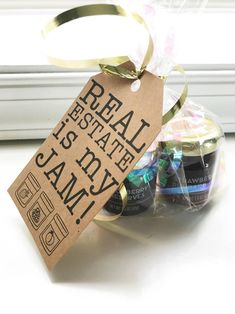 Real Estate is My Jam Pop-by Tag Template - Realtors and other salespeople are always looking for creative, inexpensive gifts to deliver to the - Real Estate Gifts, Selling Real Estate, Lead Generation, Life Insurance Quotes, Christmas Party Favors, Christmas Gifts, Homemade Christmas, House Ideas, Sell Your House Fast